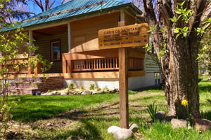 Cabin on Montana - unique rental home in Bozeman :: Stay in a fully-remodeled private log cabin w/3 queen bdrms, 2 full baths, new appliances, furniture, and a cute front porch 7 blocks from downtown on Bozeman's north side.